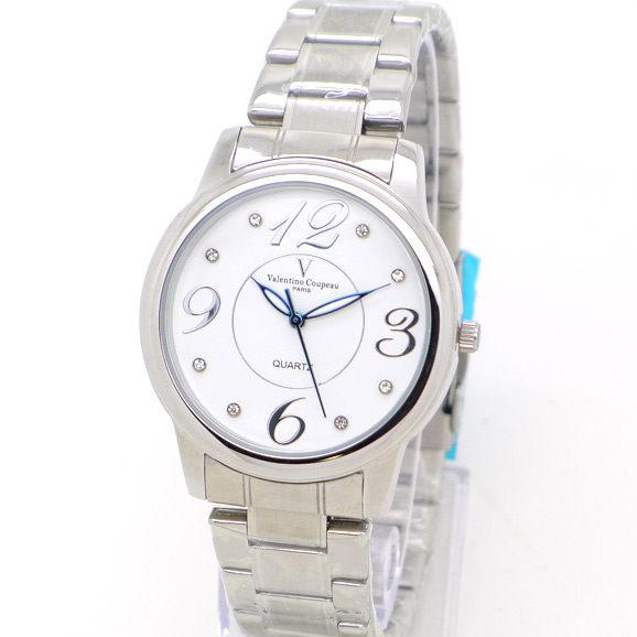 《好時光》Valentino Coupeau 范倫鐵諾 時尚晶鑽大數字不鏽鋼時尚男錶/女錶-白色+銀數字