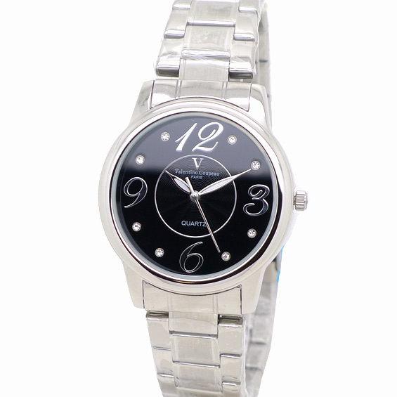 《好時光》Valentino Coupeau 范倫鐵諾 時尚晶鑽大數字不鏽鋼時尚男錶/女錶-黑色