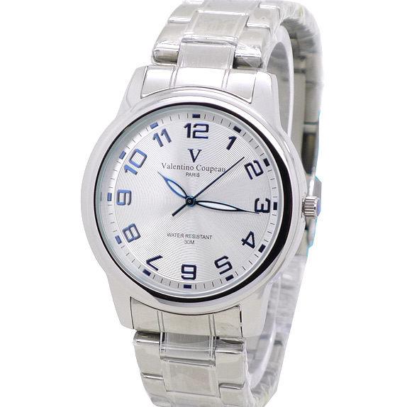 《好時光》Valentino Coupeau 范倫鐵諾 圓形立體紋 藍色清晰數字(日期窗)不鏽鋼時尚男錶/女錶