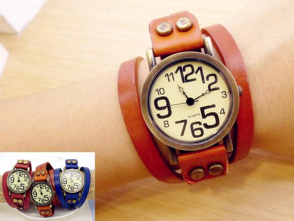 《好時光》復古趣味大小數字  真皮纏繞錶帶 / 皮革錶 /個性錶 / 女錶- 鉚釘扣