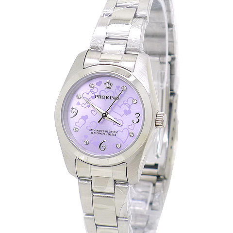 《好時光》PROKING 皇冠 愛戀之心 晶鑽時刻不鏽鋼時尚女錶-粉/紫/藍-單支