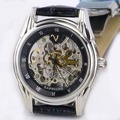 《好時光》Emilio Valentino 范倫鐵諾 典藏時光-雙面鏤空自動機械錶 (水晶鏡面) 皮錶帶