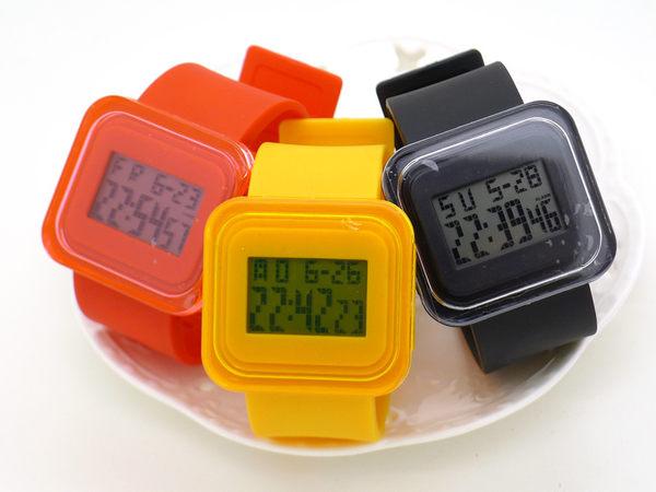 《好時光》糖果色 方形  時尚美學  簡約設計  多功能電子錶  果凍錶