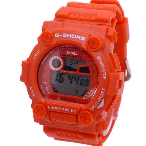 《好時光》G-SHORS 超個性 大錶徑 經典風格 多功能防水電子錶(男錶/女錶)紅/黑