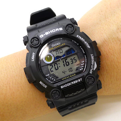 《好時光》G-SHORS 超個性大錶徑 經典風格 多功能防水電子錶(男錶/女錶)紅/黑