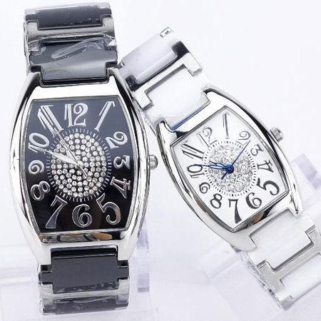 《好時光》Valentino Coupeau 范倫鐵諾 酒桶型清晰數字滿天星鑽精密陶瓷女錶/男錶-黑/白-單支價