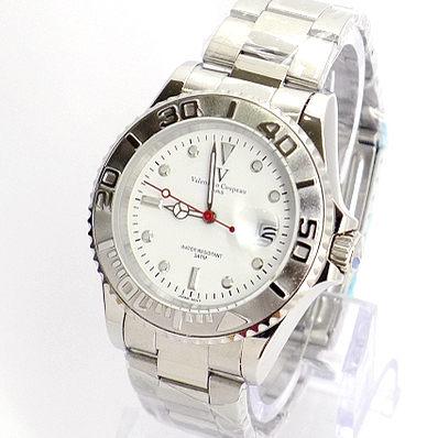 《好時光》Valentino Coupeau 范倫鐵諾 水鬼王(日期窗)銀色可旋轉框 時尚男錶