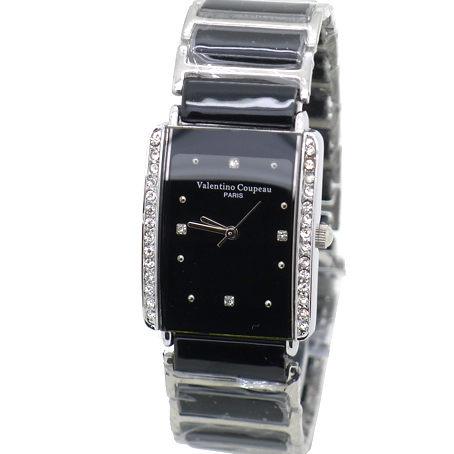 《好時光》Valentino 范倫鐵諾 長方型 晶鑽框 經典陶瓷時尚女錶/男錶-黑色