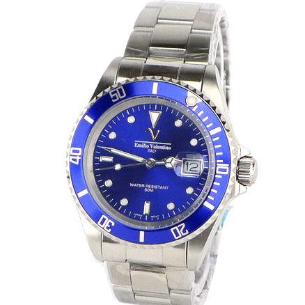 《好時光》Emilio Valentino 范倫鐵諾 水鬼王(日期窗)可旋轉框不鏽鋼時尚男錶-藍色