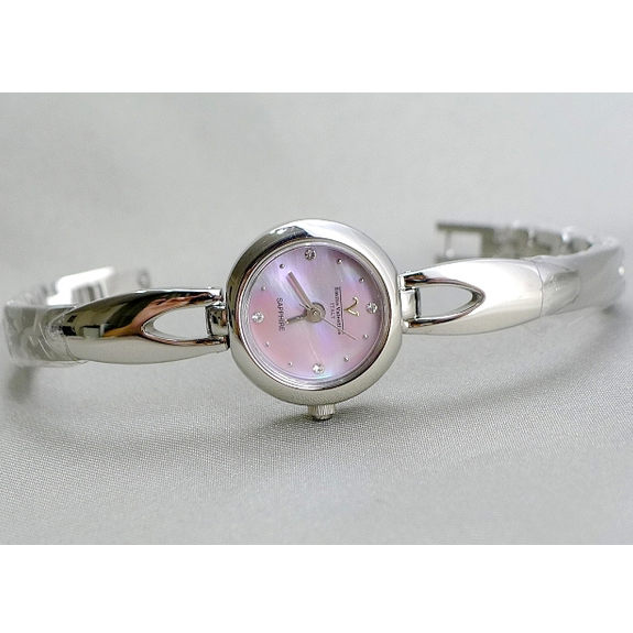 《好時光》Emilio Valentino 范倫鐵諾 圓型貝殼面小錶徑手鐲款式時尚女錶-藍寶石水晶鏡面