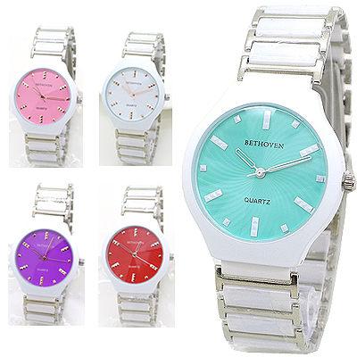 馬卡龍面盤 大錶面 立體時標 切割鏡面 陶瓷錶帶 《好時光》BETHOVEN  手錶 類CK風格