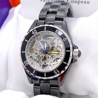 《好時光》Valentino 范倫鐵諾 高精密全陶瓷 可旋轉框雙面鏤空自動機械錶-水晶鏡面-黑/白