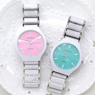 馬卡龍面盤 大錶面 立體卯釘時標 切割鏡面 陶瓷錶帶 《好時光》BETHOVEN  手錶 類CK風格