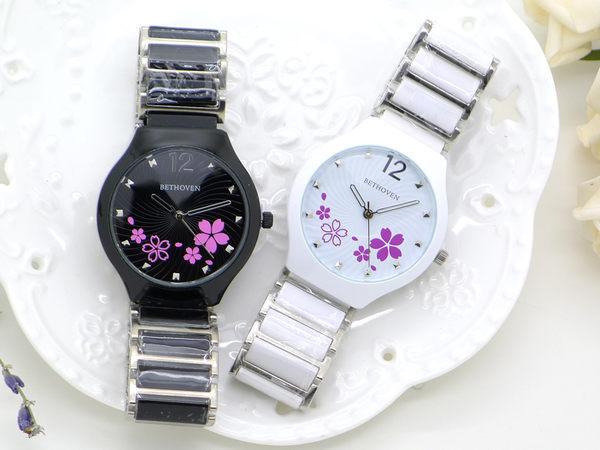 《好時光》手錶 繽紛櫻花 大錶面 卯釘立體時標 切割鏡面 陶瓷錶帶 BETHOVEN
