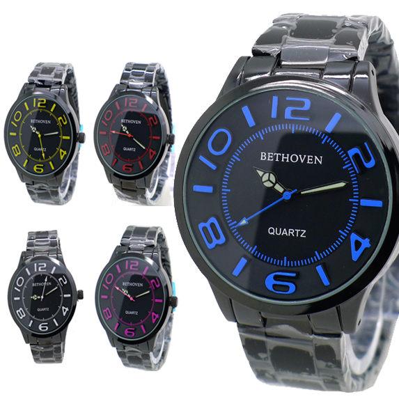 《好時光》Bethoven 黑色大面徑 馬卡龍立體浮雕數字 潮流百搭男錶/女錶/對錶-不鏽鋼錶帶