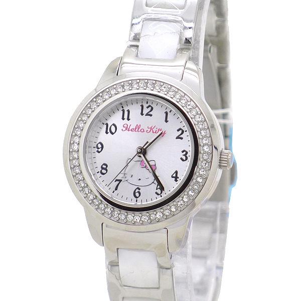 《好時光》日本SANRIO Hello kitty 俏麗奢華凱蒂公主 數字 晶鑽 精密陶瓷腕錶-水晶鏡面 粉色