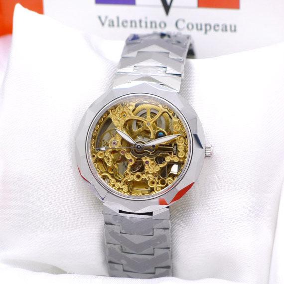 Valentino 范倫鐵諾 頂極全鎢鋼金色雕花機芯雙面鏤空自動機械錶-水晶鏡面《好時光》