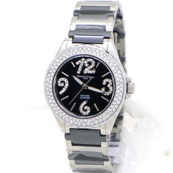 《好時光》Valentino 范倫鐵諾 黑色高精密陶瓷似香奈兒J12 晶鑽數字女錶-水晶鏡面 晶鑽框