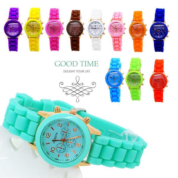 《好時光》 小錶徑 迷你馬卡龍 假三眼 玫瑰金框 果凍QQ錶 造型錶 GENEVA