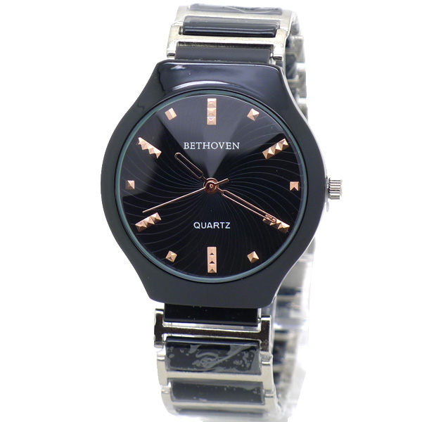 黑陶瓷 大錶面 立體玫瑰金卯釘時標 切割鏡面 陶瓷錶帶 《好時光》BETHOVEN 手錶 類CK風格
