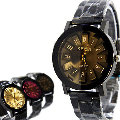 低調黑色 立體綻放數字花瓣 焦糖色鏡面 黑鋼錶 男錶/女錶 / 對錶《好時光》單支價格