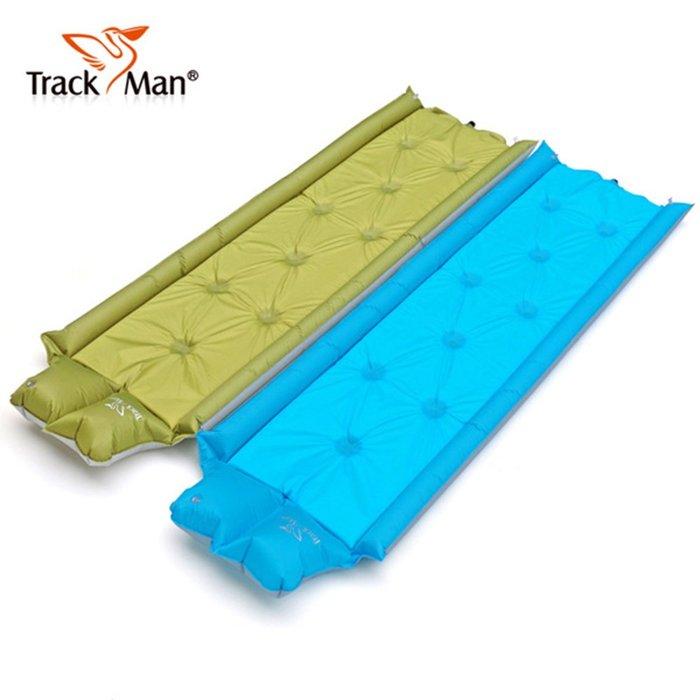 【TrackMan】單人帶枕式立體護欄型自動充氣床墊/戶外帳篷防潮墊/露營睡墊/瑜珈墊