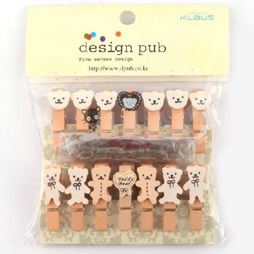 【L15112501】日韓文具-創意小熊相片夾 木頭夾 收納夾 一包12個附麻繩