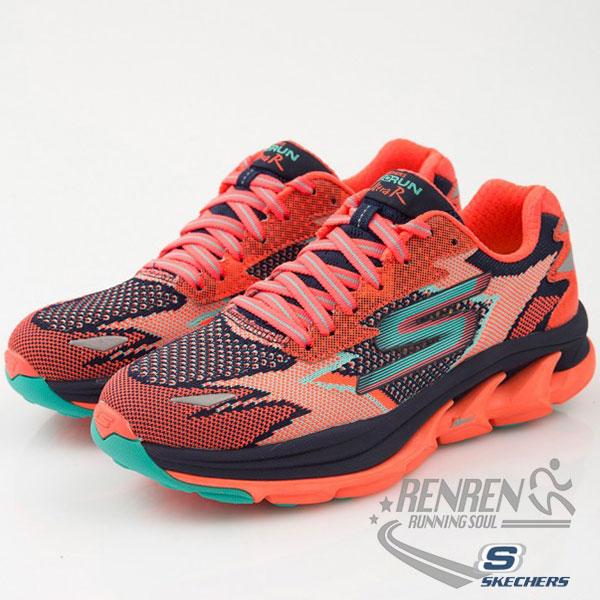 SKECHERS 女慢跑鞋GO Run Ultra R (海軍藍x珊瑚紅) 跑步系列  路跑  簡嫚書代言款