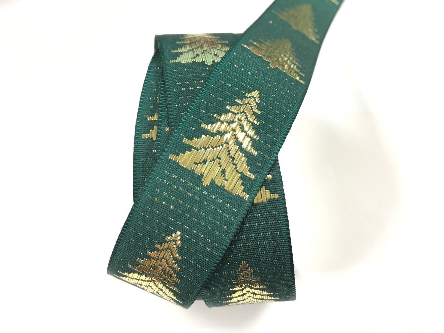 聖誕樹 緹花緞帶 20mm 3碼裝 (2色)