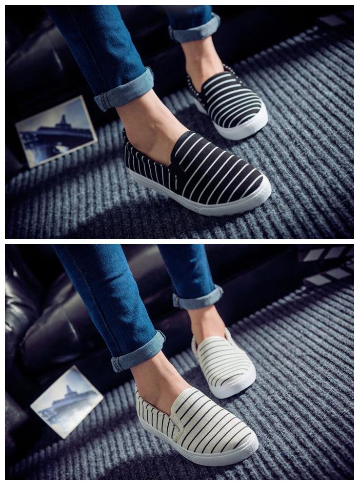 條紋帆布鞋一腳蹬懶人鞋樂福鞋女士單鞋