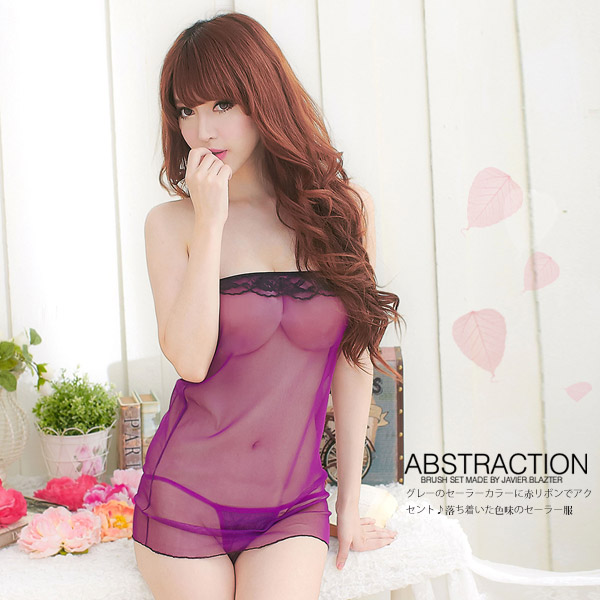 魅力甜心.柔紗二件式睡衣(紫) 甜美睡衣 性感睡衣 情趣用品