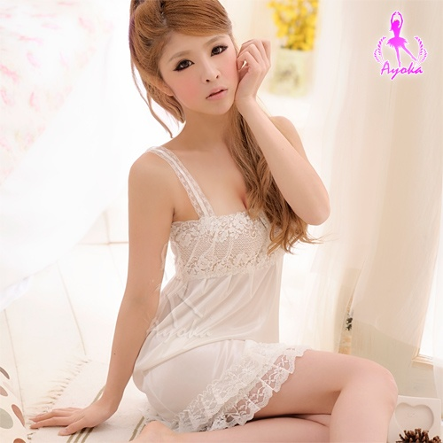 白色戀人!柔緞蕾絲睡襯衣 情趣睡衣 性感睡衣 情趣用品