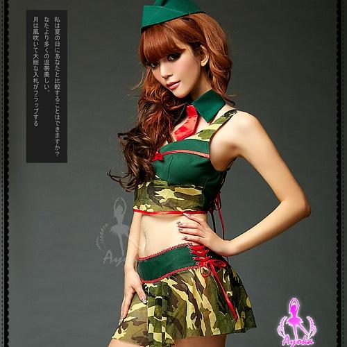 激情戰果!迷彩三件式角色服 角色扮演 cosplay 情趣用品