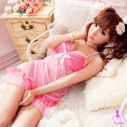 粉紅少女!柔紗二件式睡襯衣 情趣睡衣 性感睡衣 情趣用品