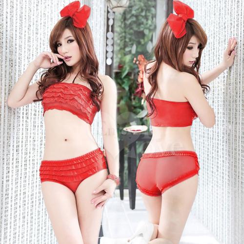 透視誘惑層層疊荷葉邊內褲﹝紅﹞ 性感內褲 情趣內褲 情趣用品