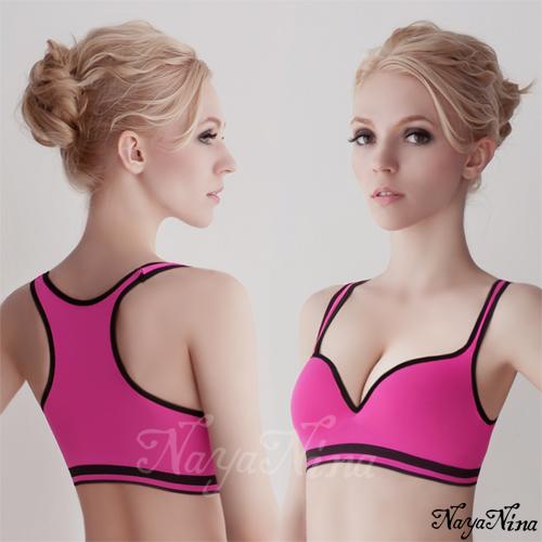 【Naya Nina】深V羽型胸墊無鋼圈工字背運動內衣(紫紅配黑邊) 運動型內衣 情趣用品