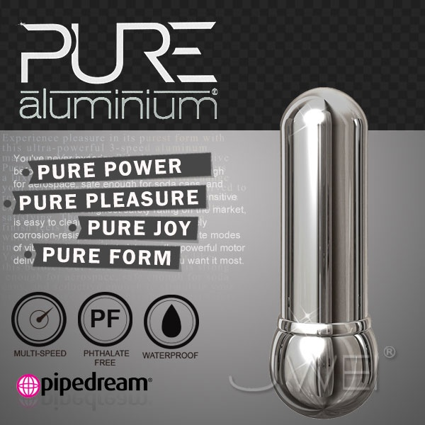 美國進口PIPEDREAM.PURE Aluminium鋁合金材質時尚精品按摩棒-S(銀) 情趣用品