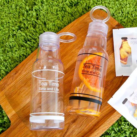 TEA TIME 韓版字母透明塑膠水瓶 500mL 水果乾水專用 冷水瓶 隨身杯 隨行杯 水壺【N202075】