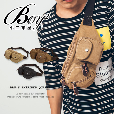 ☆BOY-2☆【NQA5036】斜背包 帆布多口袋隨身男包 單車背袋