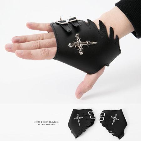 手套 日系骷髏十字架天使翅膀皮革造型手套 重機搖滾龐克風格 柒彩年代【NM54】舞蹈表演配件