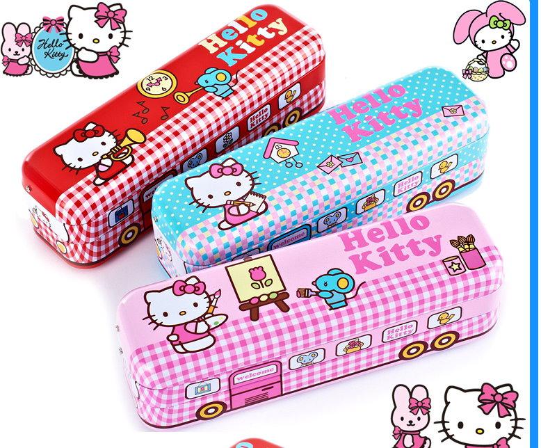 正版  Hello Kitty凱蒂貓三層巴士汽車多功能鉛筆盒