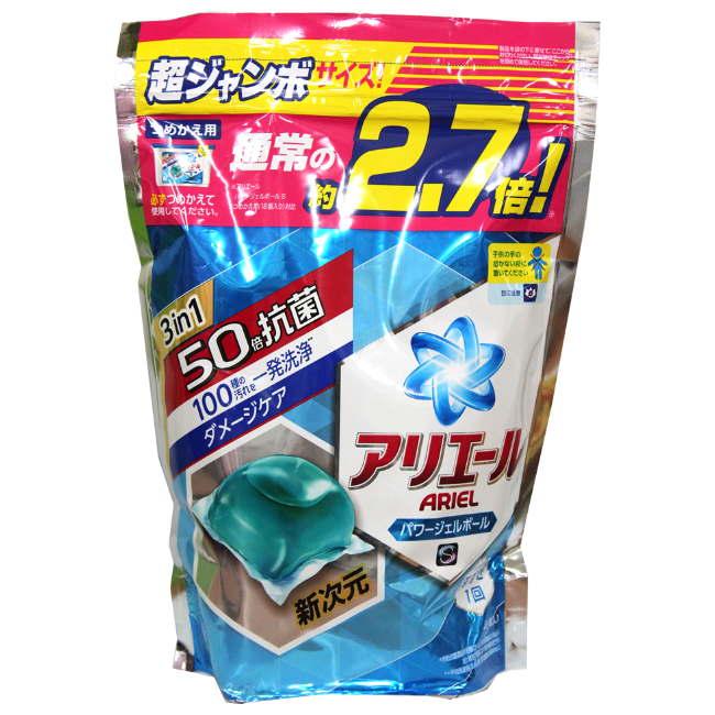 日本 P&G ARIEL 洗衣膠球-淨白藍袋裝 48枚