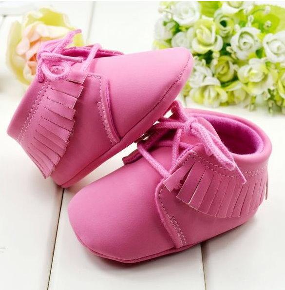 冬季流蘇靴嬰兒鞋男女寶寶學步鞋繫帶反毛皮休閒鞋軟底-粉色