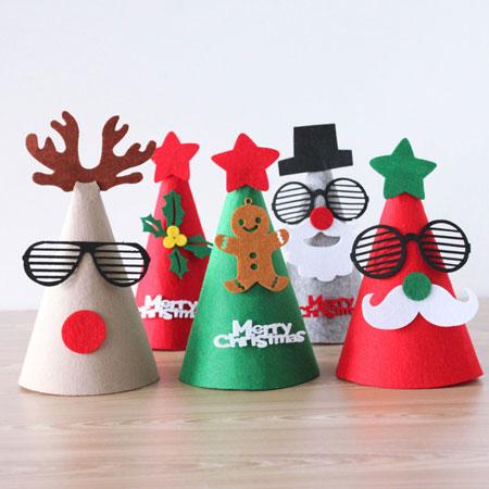 手工不織布聖誕帽 聖誕節 裝飾 DIY手工 聖誕帽 聖誕老人 麋鹿 雪人 薑餅人【B062430】