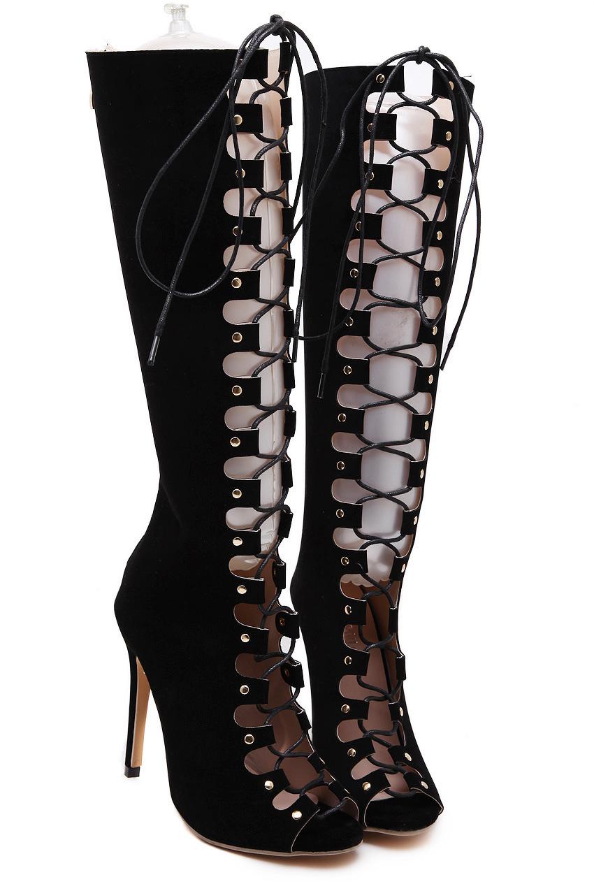 新款歐美綁帶高跟鞋外貿時尚鏤空性感長靴女靴平底靴過膝靴及膝靴黑