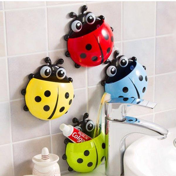 BO雜貨【SV9504】創意七星瓢蟲牙刷架 強力吸盤牙刷牙膏收納架 浴室置物架 瓢蟲