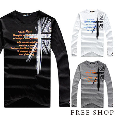 Free Shop【QR73950】日韓系英國國旗肩面印花圓領長袖上衣長T潮T‧三色 MIT 台灣製