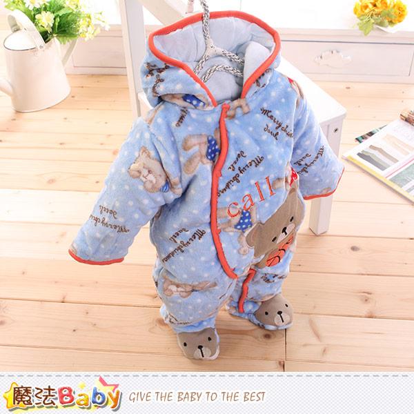 嬰兒保暖連身衣 加厚鋪棉極暖連帽包腳連身衣 魔法Baby~k44867