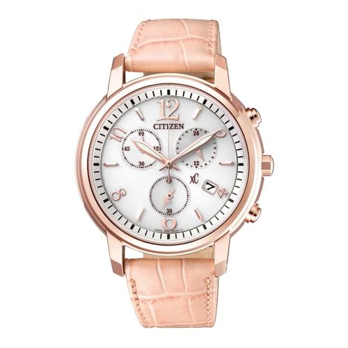 CITIZEN XC 優雅甜美三眼計時時尚皮帶腕錶/FB1432-04A