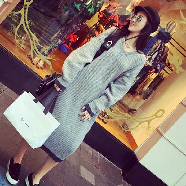 PS Mall 韓國東大門秋冬新款寬鬆圓領套頭超長款針織毛衣連身裙 洋裝【T4137】